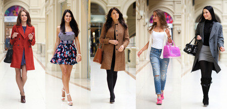 Foto per Collage five fashion young women in shop - Immagine Royalty Free