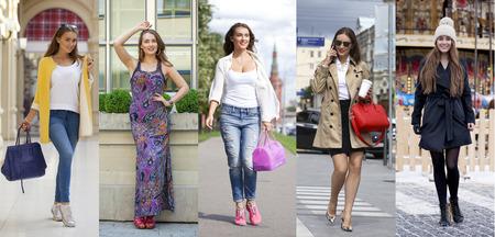 Foto per Collage five fashion young women, street fashion - Immagine Royalty Free