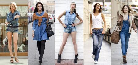Foto de Collage Jeans Fashion. Portrait in full growth the young beautiful girls in blue jeans - Imagen libre de derechos