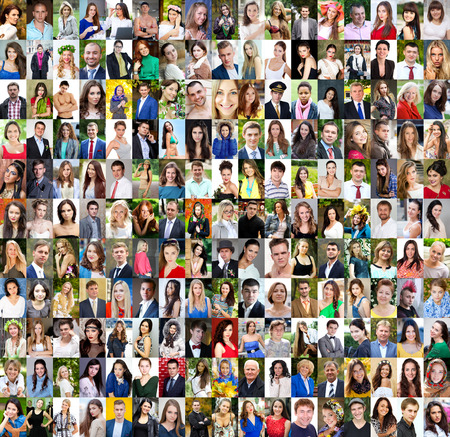 Foto de Collection of different caucasian women and men ranging from 18 to 50 years - Imagen libre de derechos