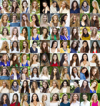 Photo pour Collage of beautiful young women between eighteen and thirty years, a portrait of a close-up - image libre de droit