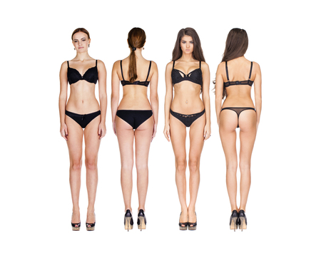 Foto de Collage photo beautiful brunette models in black lingerie, front and rear, isolated on white background - Imagen libre de derechos