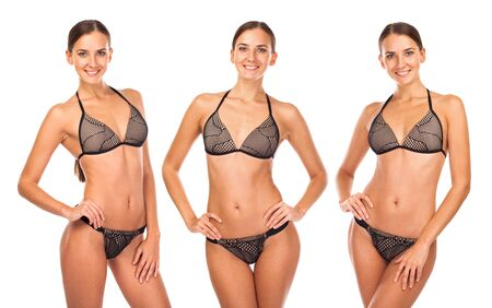 Photo pour Collage three sexy models. Close up portrait of young girls wearing brown bikini, isolated on white background - image libre de droit