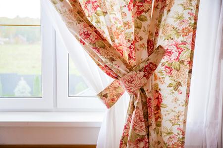 Photo pour Beautiful window curtain - image libre de droit