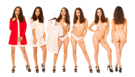 Collage sexy women. Portrait of young brunette with beautiful nude topless breasts, isolated on white background