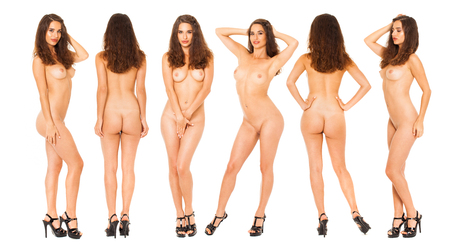 Collage naked women. Full body portrait of a beautiful fully nude model, isolated on white background