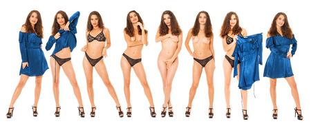 Foto de Collage fashion sexy models. Full body portrait of a beautiful brunette women, isolated on white background - Imagen libre de derechos
