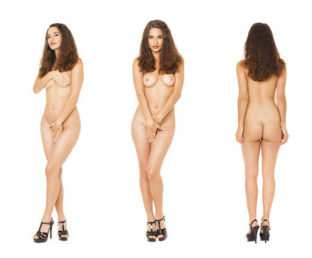 Model Tests Collage. Full portrait of sexy brunette models in black lingerie, isolated on white background