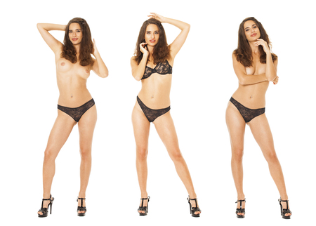 Photo for Model Tests Collage. Full portrait of sexy brunette models in black lingerie, isolated on white background - Royalty Free Image