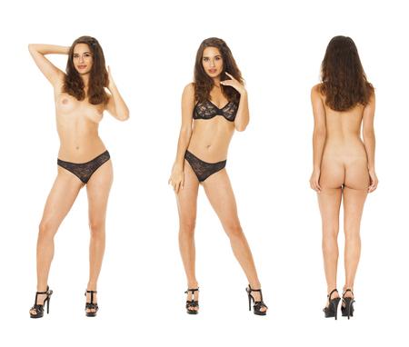 Foto de Model Tests Collage. Full portrait of sexy brunette models in black lingerie, isolated on white background - Imagen libre de derechos