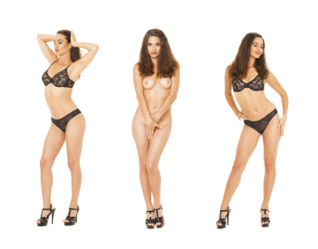 Photo pour Model Tests Collage. Full portrait of sexy brunette models in black lingerie, isolated on white background - image libre de droit