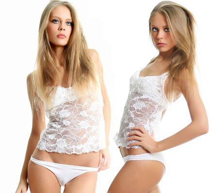 Photo pour Collage two sexy young blonde women in white underwear, isolated on white background - image libre de droit
