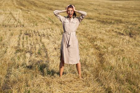Photo for Full body portrait young beautiful brunette girl in a beige dress posing against the background of a mowed wheat field - Royalty Free Image