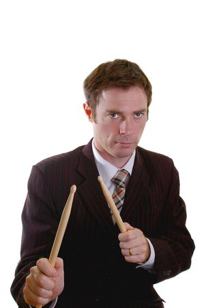 business man drumming up sales with a drumstick roll