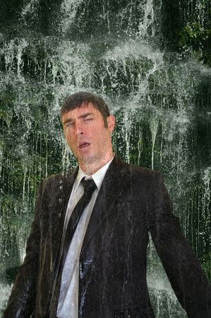 business man concept image back to nature  waterfall cleanse