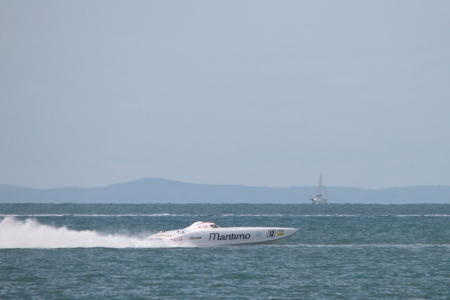 BRISBANE, AUSTRALIA - SEPTEMBER 16 : Team Maritimo participating in round 5 of Offshore Superboat Championships on September 16, 2012 in Brisbane, Australia