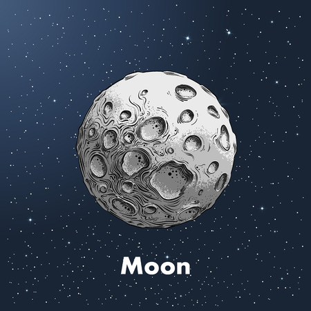 Illustration pour Hand-drawn sketch of moon in color, against a background of space. Detailed drawing in the style of vintage. Vector illustration. - image libre de droit
