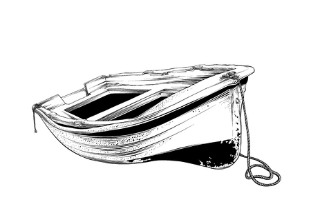 Illustration pour Vector drawing of wooden boat in black color, isolated on white background. Graphic illustration, hand drawing. Drawing for posters, decoration and print. Vector illustration. - image libre de droit