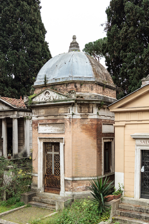 ROME, ITALY - MARCH 25 2014: Outdoor Picture from the famous Cemetary Campo Verano near San Lorenzo on March 25 2014 in Rome in Italy