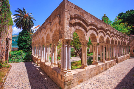 Lovely View on the old cloister of saint john in Palermo, Sicily, Italy on a warm spring morning