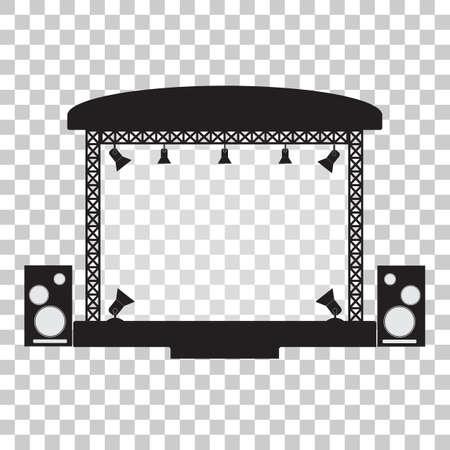 Illustration pour Concert stage and musical equipment simpl flat design. Vector illustration - image libre de droit
