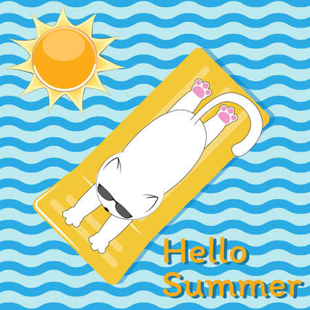 Illustration for White cute cat with glasses sunbathes on the sea on a yellow mattress. Blue background in the style of the waves with the sun and slogan Hello Summer. - Royalty Free Image