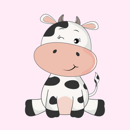 Illustration for Hand drawn vector illustration of a cute funny cow. - Royalty Free Image