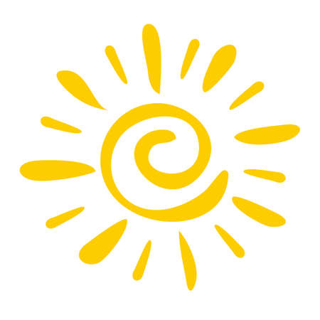 Illustration for Hand drawn icon Sun isolated on a white background. - Royalty Free Image