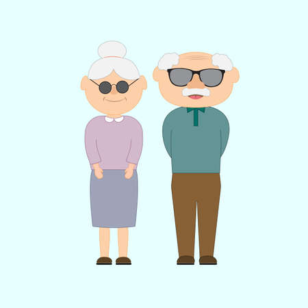 Illustration for Happy grandparents day with and grandfather and grandmother. Vector illustration in cartoon style. Greetings card. - Royalty Free Image