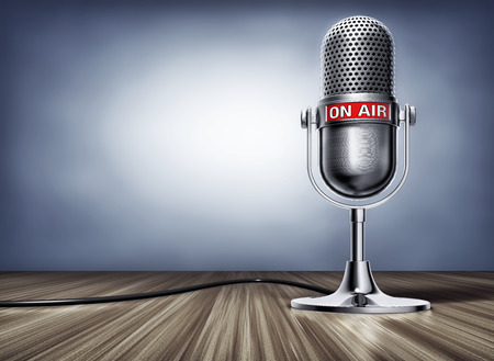 Photo for 3D rendering of a microphone with a on air sign - Royalty Free Image