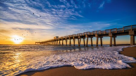 Photo for Sunset at the pier of venice, florida - Royalty Free Image