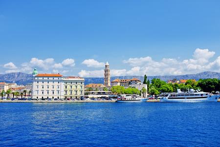 Split city harbor, old town in Croatia