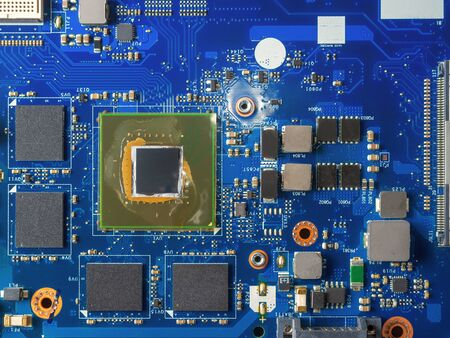 Photo for Close up of a printed blue computer circuit board - Royalty Free Image