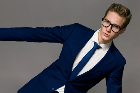 Male Model wearing a jacket and glasses