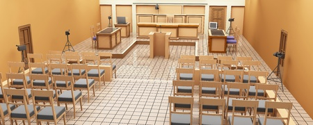 The interior of the courtroom. Panoramic views. 3-D graphics