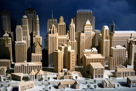 3d scale model of a city showing the CBD with modern skyscrapers and high-rise commercial architecture, infrastructure and buildings
