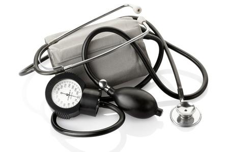 Medical sphygmomanometer and stethoscope isolated