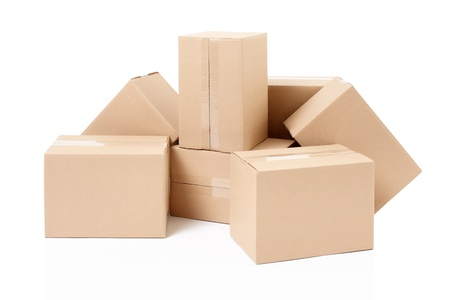 Cardboard boxes group on white, clipping path included