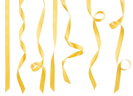 Golden ribbon collection isolated on white, clipping path