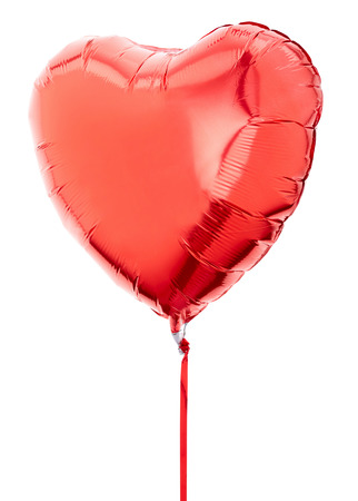 Red heart balloon on white, clipping path