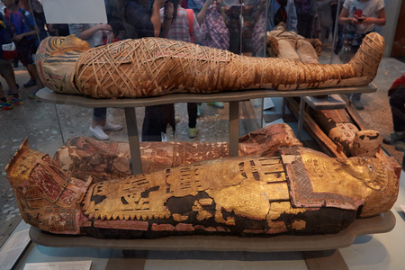 Mummies and sarcophagus in British museum in London