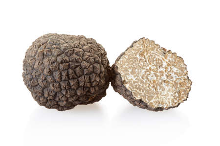 Photo pour Black truffle and section isolated on white - image libre de droit
