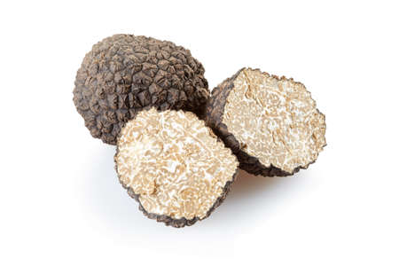 Photo pour Black truffle and sections isolated on white - image libre de droit