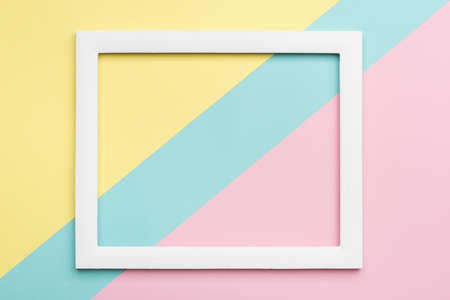 Foto de Abstract pastel colored paper texture minimalism background. Minimal geometric shapes and lines composition with empty picture frame. - Imagen libre de derechos