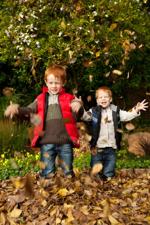 Two smiling brothers / sons are playing in the autumn / fall leaves, throwing them into the air and laughing in a park or garden setting