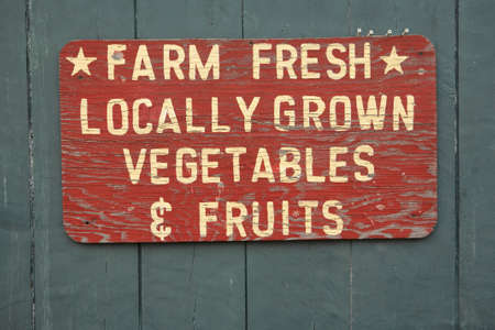 FARM FRESH vegtables and fruits sign at farmers marketの写真素材