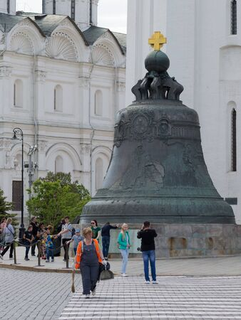 Moscow - May 7, 2016: Many tourists are photographed near the Tsar Bell on the Kremlin territrii May 7, 2016, Moscow, Russia