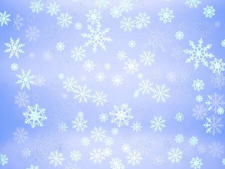 Photo pour Beautiful white different eight-pointed snowflakes on a light blue gradient abstract background - image libre de droit