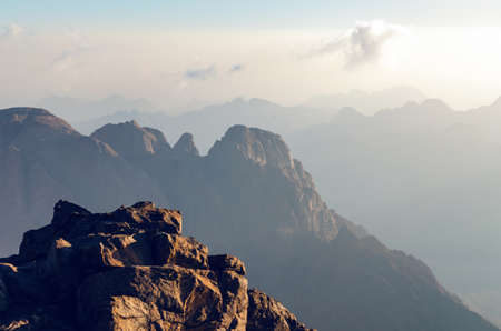 Photo for Beautiful mountain landscape, view from Mount Moses in Egypt on the Sinai Peninsula. - Royalty Free Image