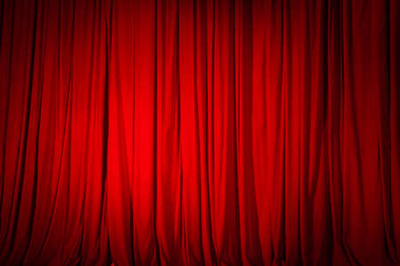 Photo pour Closed red curtain in the theater, background texture. - image libre de droit